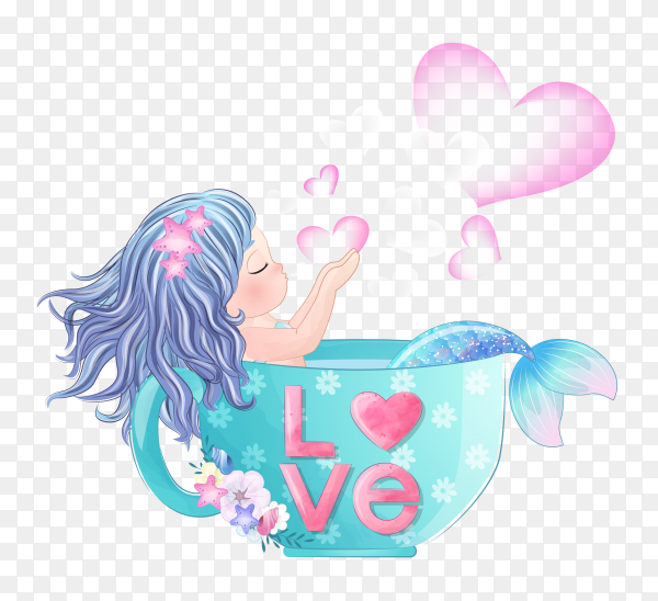 Hand drawn cute mermaid inside the cup on transparent background PNG