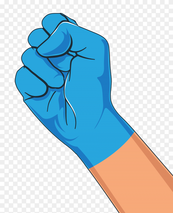 Hand with medical gloves on transparent background PNG