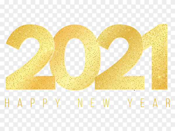 Happy new 2021 year with golden glittering numbers on transparent background PNG