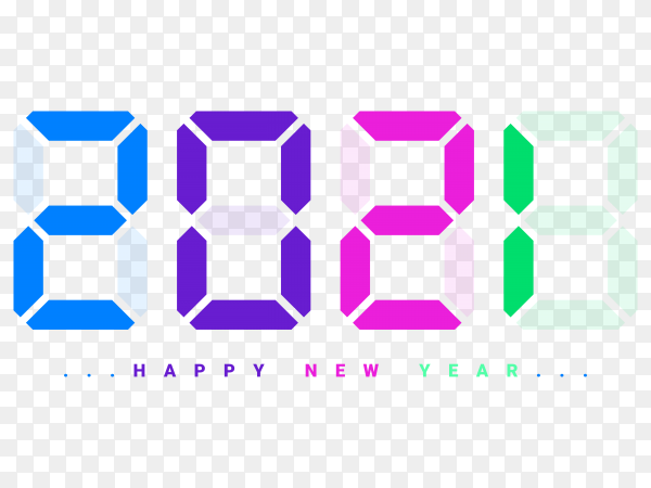 Happy new year 2021 digital clock style Clipart PNG