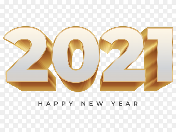Happy new year 2021 illustration on transparent background PNG