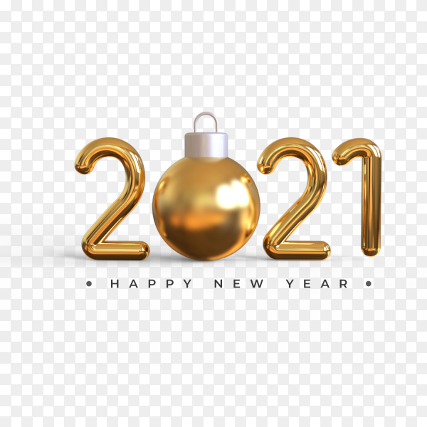 Happy new year 2021 with christmas ball on transparent background PNG