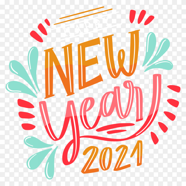 Happy new year 2021 with colorful lettering on transparent background PNG