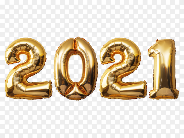 Happy new year 2021 with golden balloon numbers on transparent background PNG