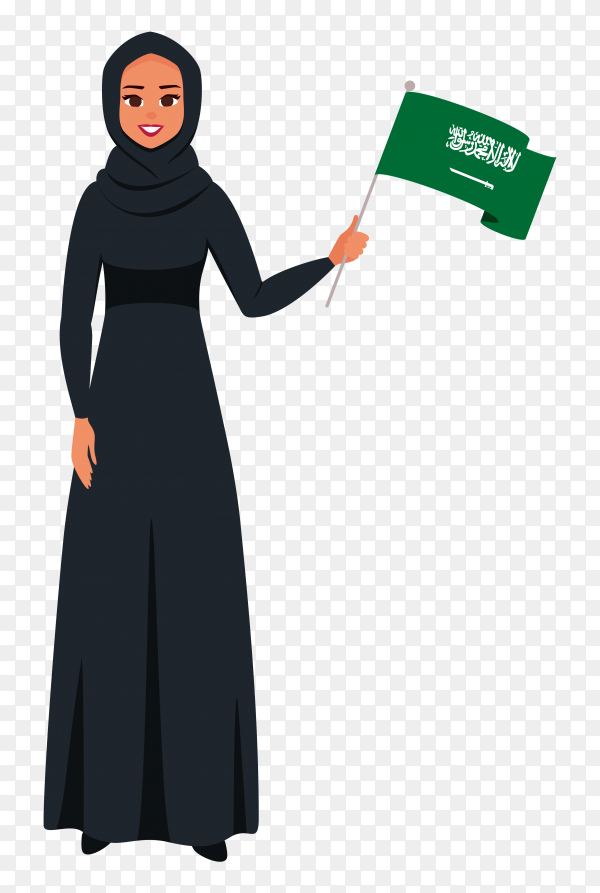 Happy saudi woman holding flag of saudi arabia on transparent background PNG