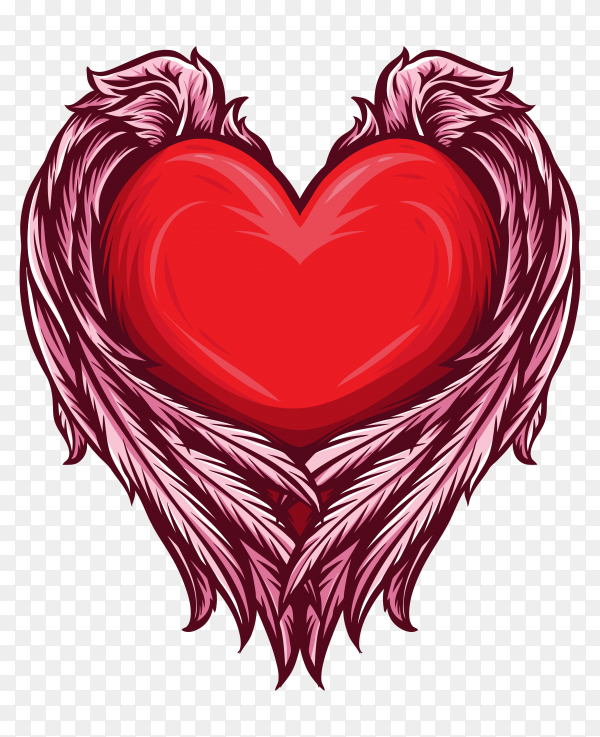 Heart with angel wings premium vector PNG