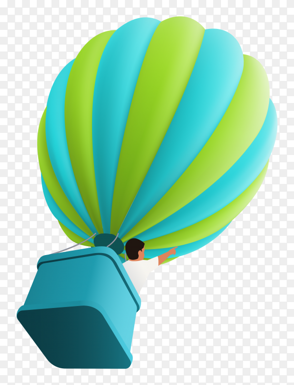 Hot air balloon in sky with boy in the basket on transparent background PNG