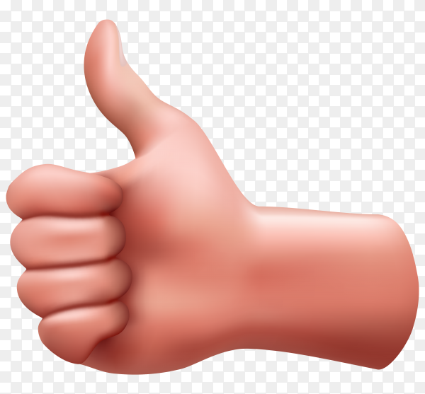 Human hand with like sign design isolated on transparent background PNG