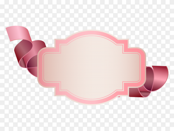 Illustration of banner design with ribbon on transparent background PNG