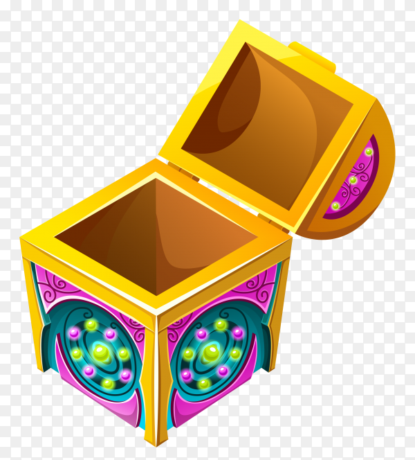 Isometric treasure chest opened on transparent background PNG