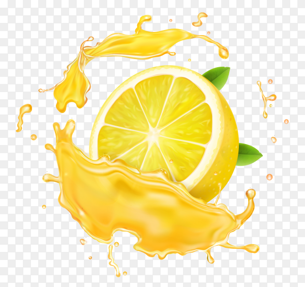 Lemon slices in  juice splash on transparent background PNG