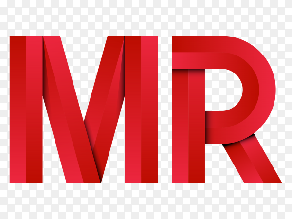 Lettering MR with geometric simple logo on transparent background PNG