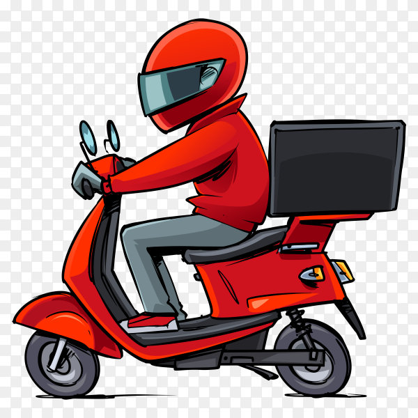 Modern delivery man on scooter on transparent background PNG