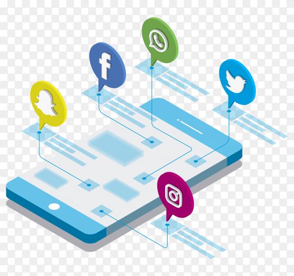 Modern flat design isometric concept of social media apps and digital marketing on transparent background PNG