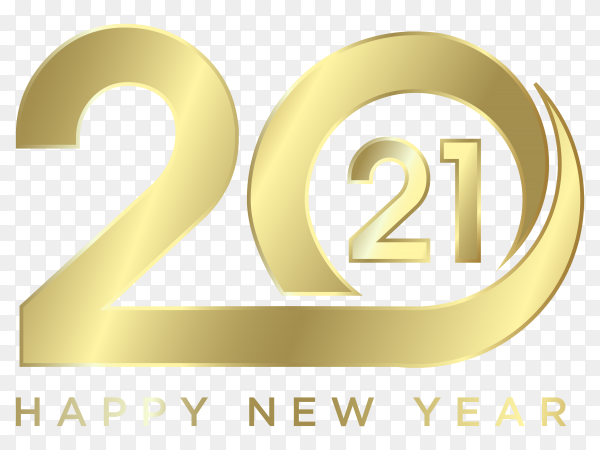 Modern happy new 2021 year on transparent background PNG
