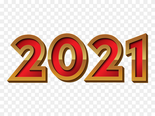 New 2021 year in flat design on transparent background PNG
