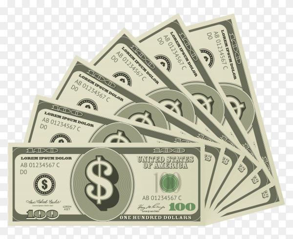 One hundred (100) dollars on transparent background PNG