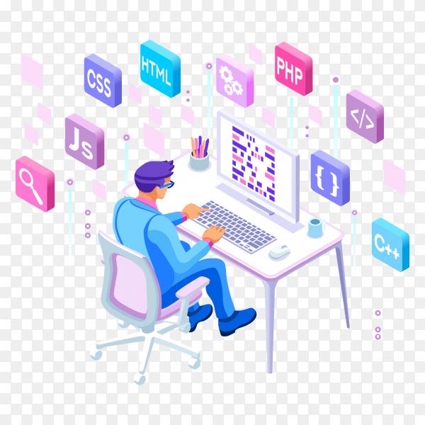 Programmer Engineering Development Illustration on transparent background PNG