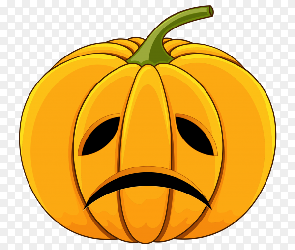 Realistic design halloween sad pumpkin on transparent background PNG