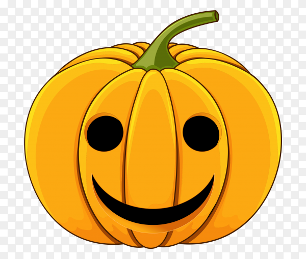 Realistic Halloween Smiling pumpkin on transparent background PNG