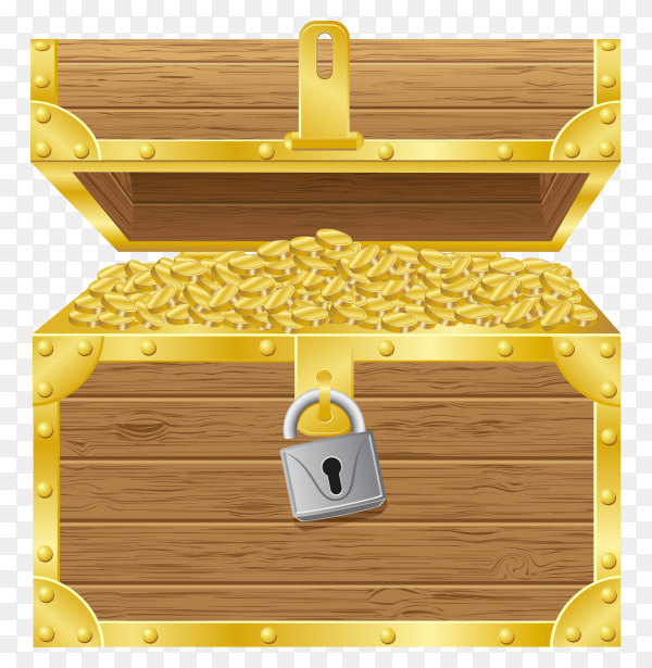 Realistic open old wooden chest with golden coins on transparent background PNG