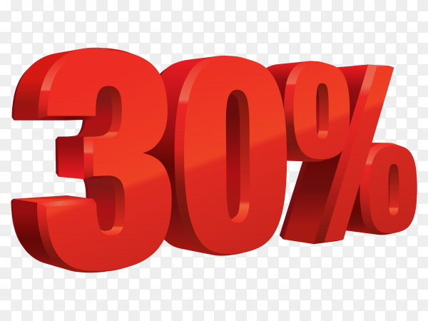 Realistic red text 30 percent discount number on transparent background PNG