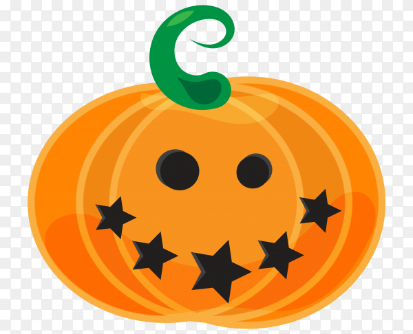 Realistic style halloween pumpkin on transparent background PNG