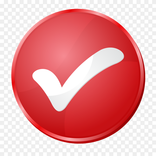 Red correct icon on transparent background PNG