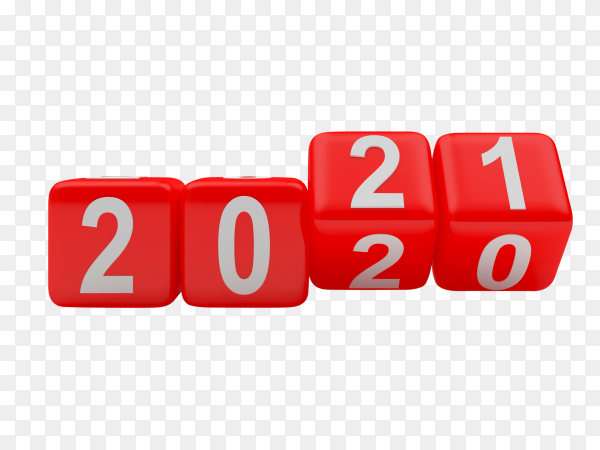 Red dice rotate numbers 2021 on transparent background PNG