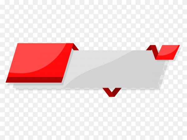 Red white banner design on transparent background PNG