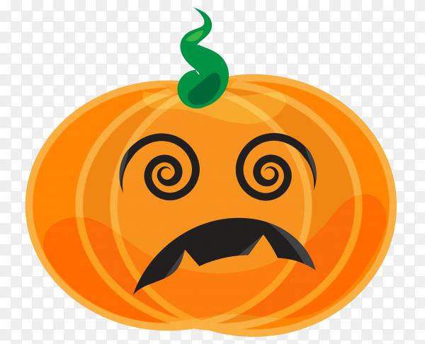 Sad halloween pumpkin on transparent background PNG