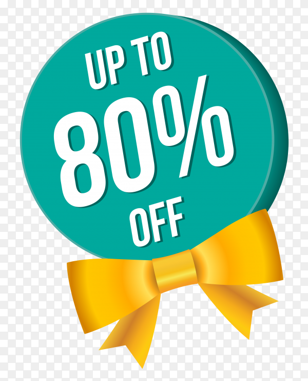 Sale and discount banner with yellow bow on transparnt background PNG