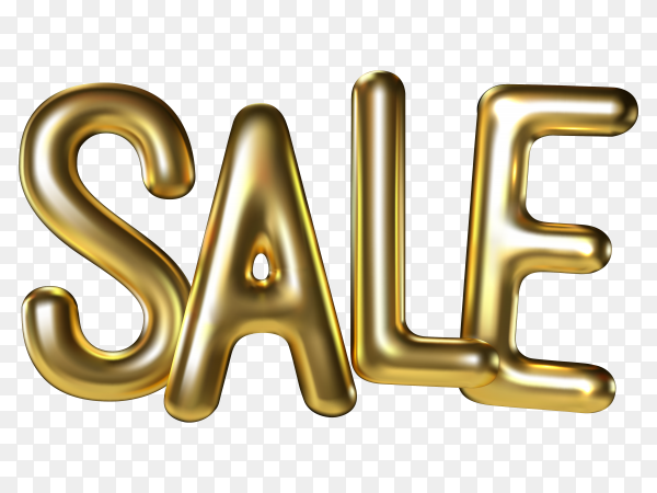 Sale lettering made of realistic 3d gold balloons on transparent background PNG