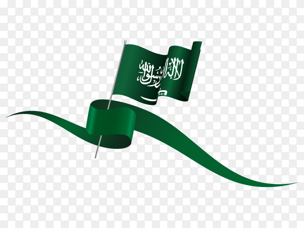 Saudi arabia waving flag on flagpole on transparent PNG