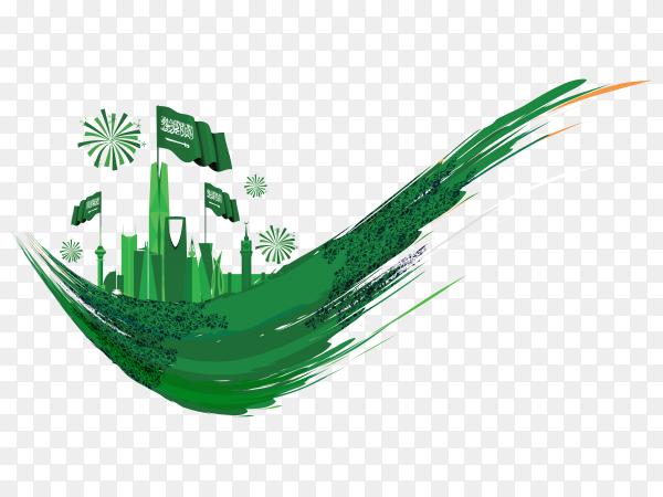 Saudi national day design on transparent background PNG