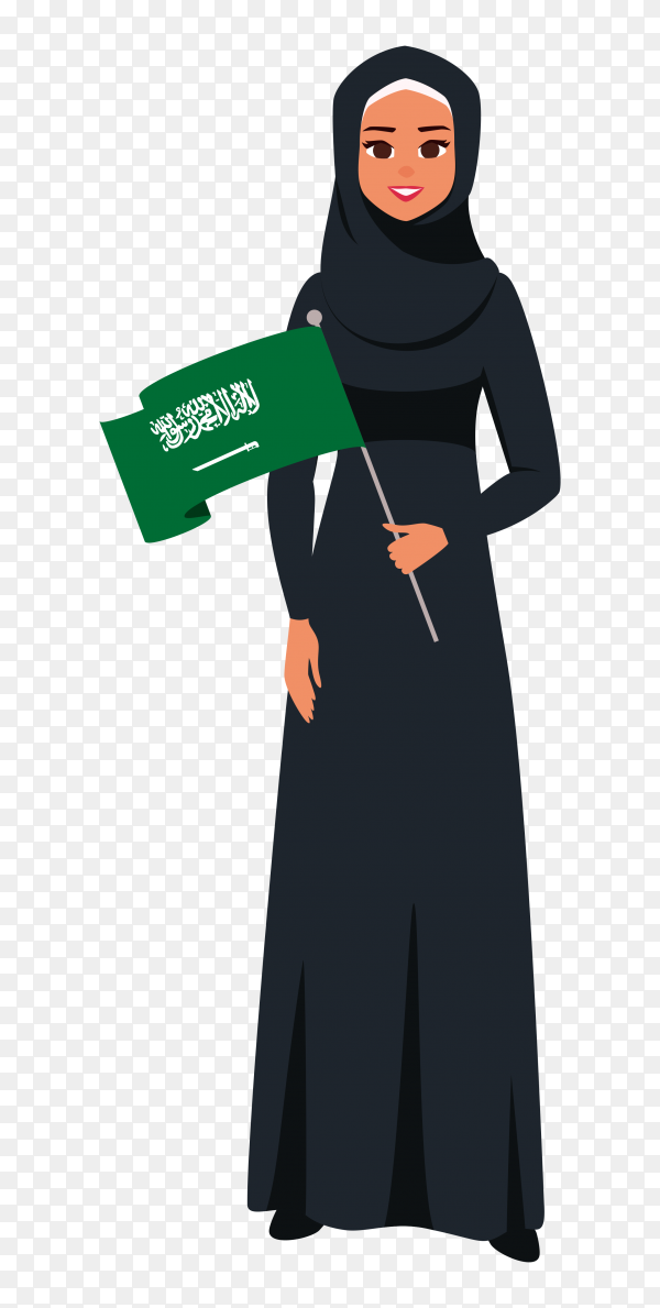 Saudi woman holding flag of saudi arabia premium vector PNG