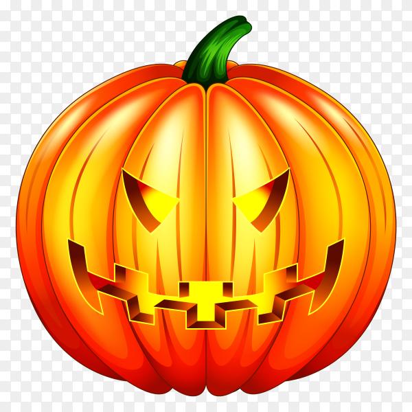 Scary pumpkin halloween lantern Illustration on transparent background PNG