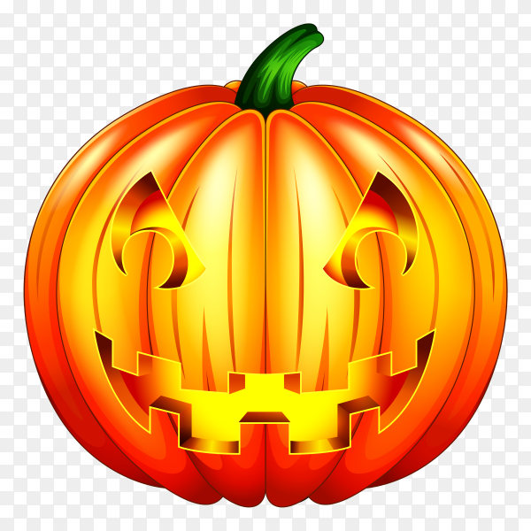 Scary pumpkin halloween lantern isolated on transparent background PNG
