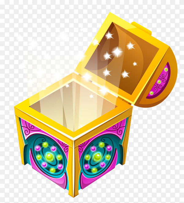 Shine in isometric chest premium vector PNG