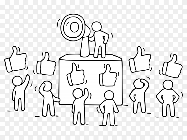 Sketch crowd of little people with like signs premium vector PNG