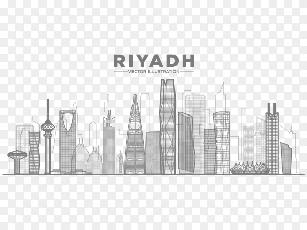 Skyline of riyadh city in linear style on transparent background PNG