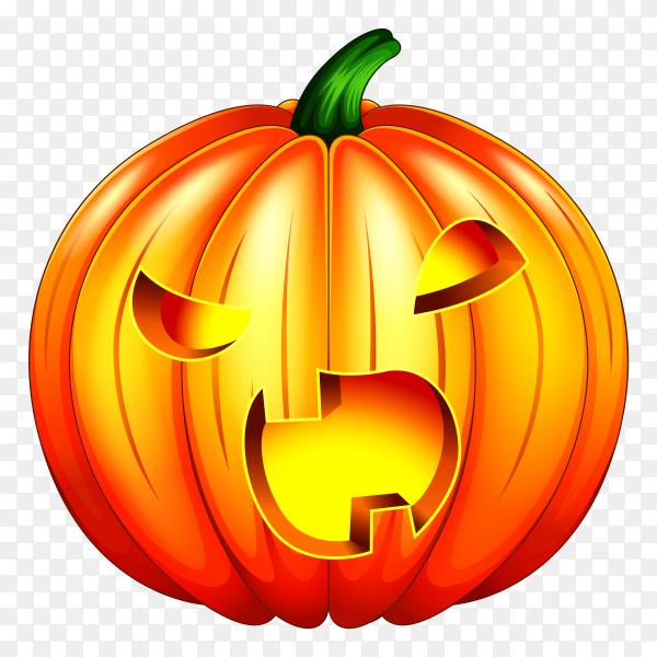 Spooky carved halloween pumpkin on transparent background PNG