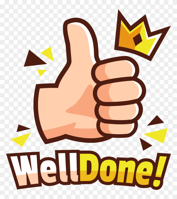 Thumbs up hand with crown illustration on transparent background PNG