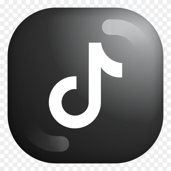 Tiktok logo minimal style on transparent  PNG