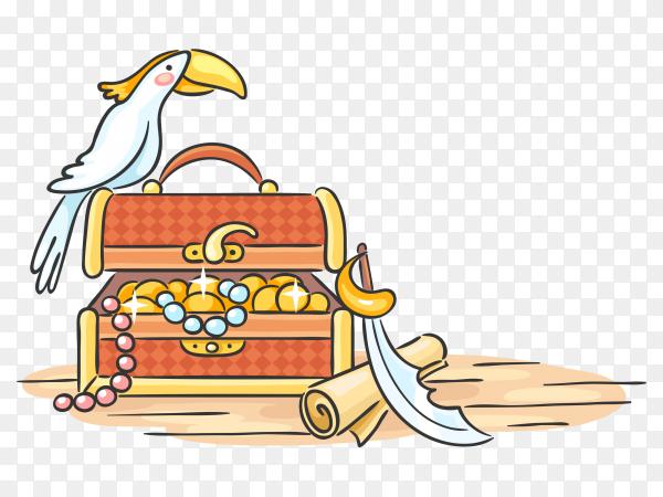 Treasure chest parrot design premium vector PNG