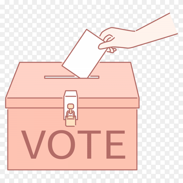 Vote your ticket into a ballot box in line art style on transparent background PNG