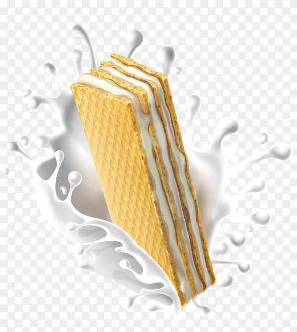 Wafer with milk splash on transparent background PNG