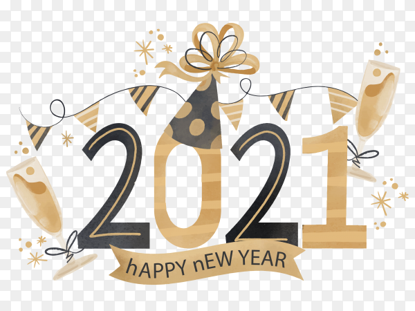 Watercolor new year 2021 on transparent background PNG