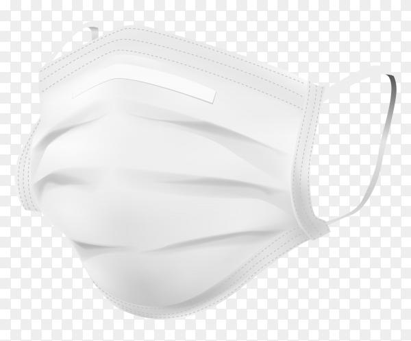 White face medical mask on transparent background PNG