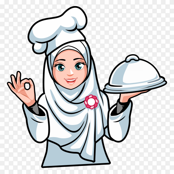 Woman Chef with hijab on transparent background PNG